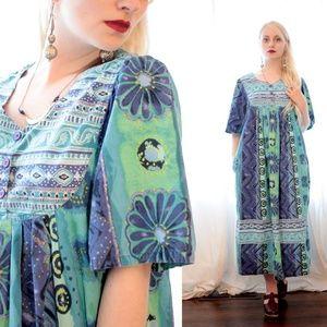 90s short sleeve cotton Indian folk dress